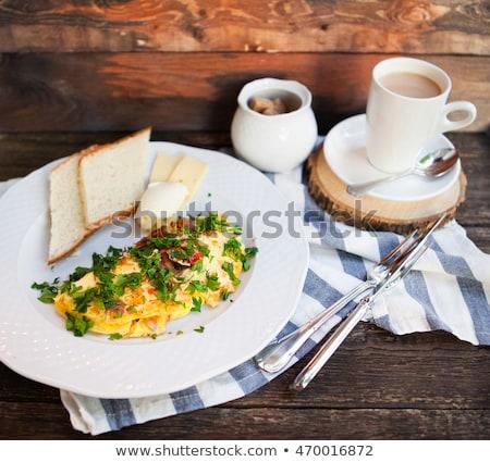 fincan · tavuk · füme · sosis · cajun · akşam · yemeği - stok fotoğraf © yatsenko