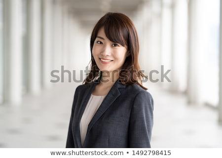 Stock fotó: ázsiai · üzletasszony · hüvelykujj · felfelé · felirat · fehér