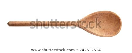 fából · készült · merőkanál · fehér · izolált · leves - stock fotó © sapegina