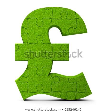 Yeşil bilmece pound imzalamak yalıtılmış beyaz Stok fotoğraf © Oakozhan