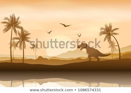 prehistoric landscape mountains and tyrannosaur. Stock photo © curiosity