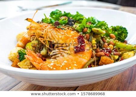 chinês · cozinha · porcos · intestinos · jantar · chef - foto stock © raywoo