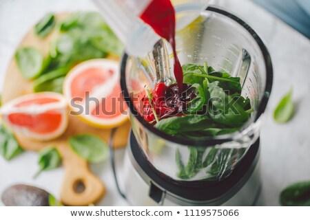 ブレンダー 新鮮果物 木材 リンゴ キッチン 表 ストックフォト © M-studio