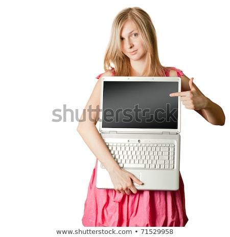 różowy · otwarte · laptop · kobieta · coś - zdjęcia stock © leedsn