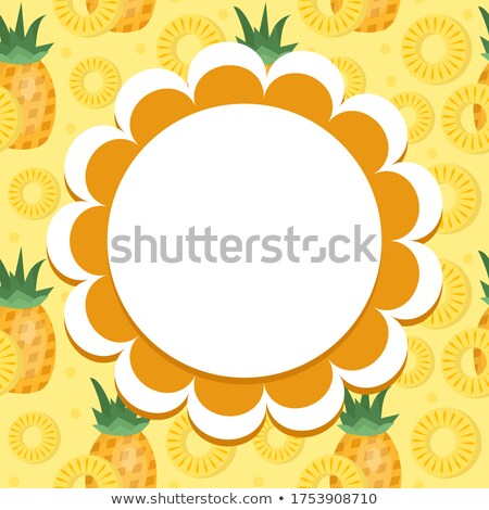 Pineapple label, wrapper template for your design. Fruit frame with space for text. Vector illustrat Stock photo © lucia_fox