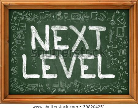 Next Level Concept. Green Chalkboard with Doodle Icons. Stock photo © tashatuvango