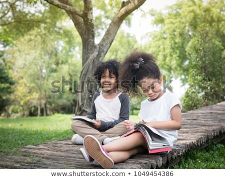 девушки чтение улице образование Председатель ветер Сток-фото © IS2