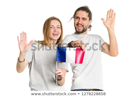 Couple smiling with French flag Stock photo © IS2