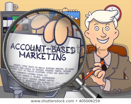 sales growth through magnifier doodle style stock photo © tashatuvango