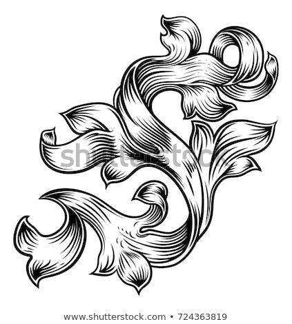 Heraldic Floral Filigree Pattern Scroll Design Stock photo © Krisdog
