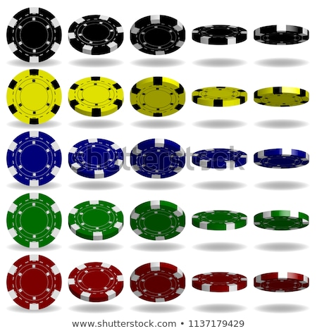stacks of red green blue gambling chips and black dices 3d stock photo © djmilic