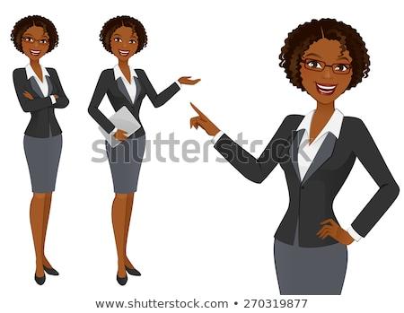 Stockfoto: Gelukkig · afro-amerikaanse · zakenvrouw · karakter · tablet · computer