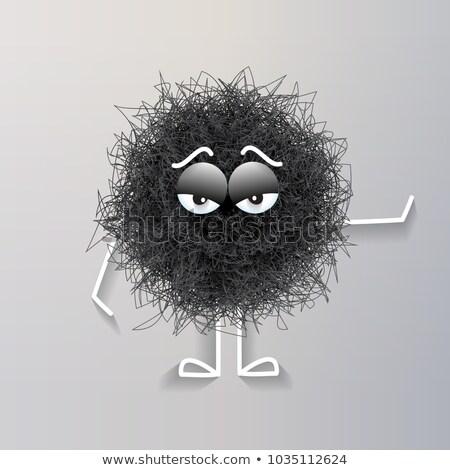 пушистый Cute черный сферический тварь скучно Сток-фото © balasoiu