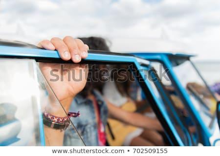 close up of hippie minivan car at seaside Stock photo © dolgachov