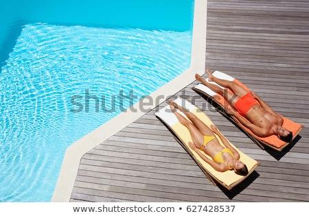 paar · zon · liggen · strand · bloem · boom - stockfoto © is2