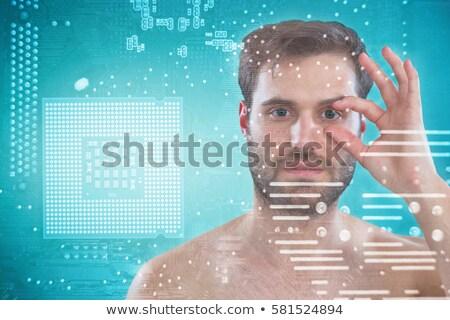 Gömleksiz adam açılış göz parmaklar beyaz Stok fotoğraf © wavebreak_media