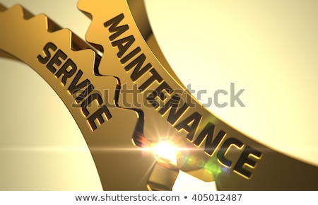 Onderhoud dienst gouden versnellingen 3d illustration mechanisme Stockfoto © tashatuvango