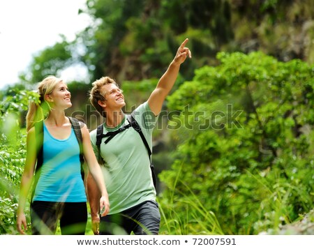 Two young blonde women walking in forest Stock photo © IS2