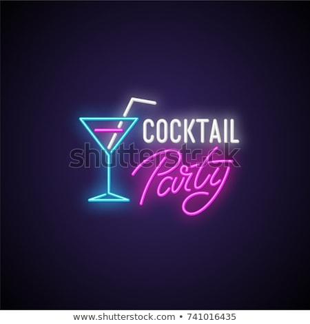 Cocktail bevande lineare stile silhouette bere Foto d'archivio © Olena