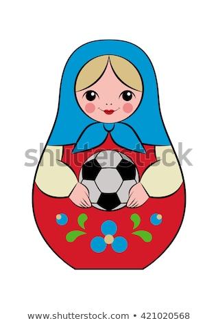 русский кукла футбольным мячом изолированный белый Сток-фото © orensila
