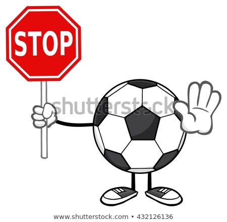 Futbol topu karikatür maskot karakter dur işareti Stok fotoğraf © hittoon
