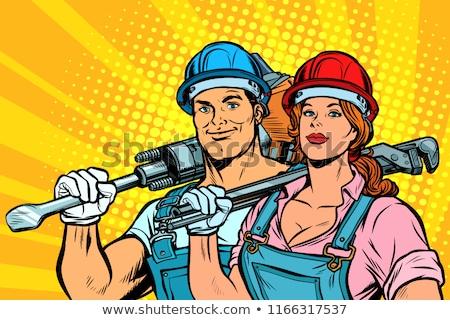 Silne pracowników człowiek kobieta dzień Zdjęcia stock © studiostoks
