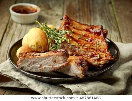 Stock fotó: Krumpli · hús · barbecue · szakács · kebab · főzés