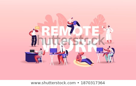 jonge · man · laptop · freelance · werk · poster · freelancer - stockfoto © robuart