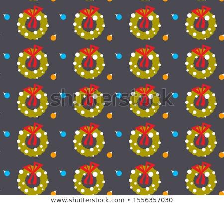 Рождества · эскиз · венок · ель · украшенный · стекла - Сток-фото © lady-luck