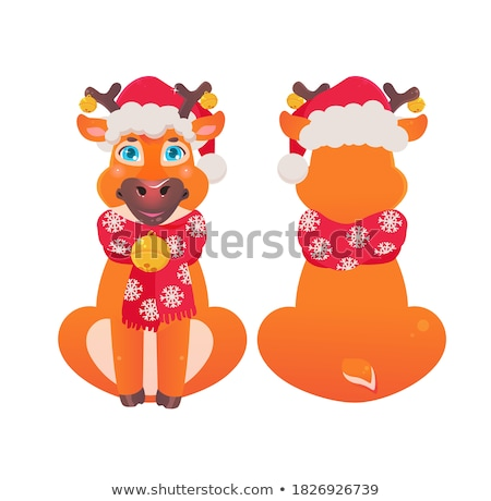 vector cute cartoon of red nosed reindeer toy, rudolph Stock photo © freesoulproduction