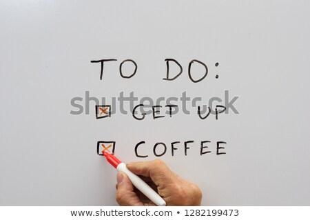 El teendők listája felfelé kávé kéz száraz Stock fotó © pancaketom