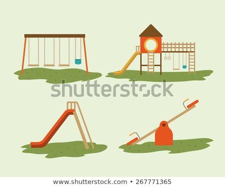 Parco giochi slide giocattoli illustrazione panorama sfondo Foto d'archivio © colematt