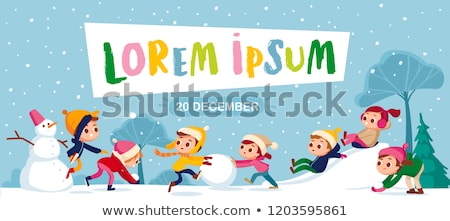 Stock photo: Winter Holidays Fun, Kids Playing Snowball Fight