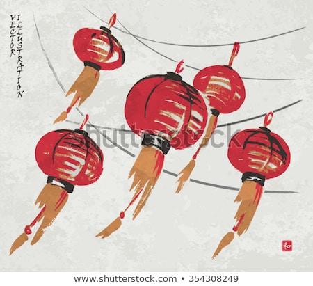 Sketch Chinese red lanterns Stock photo © netkov1