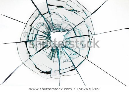 broken window on white background stock photo © colematt