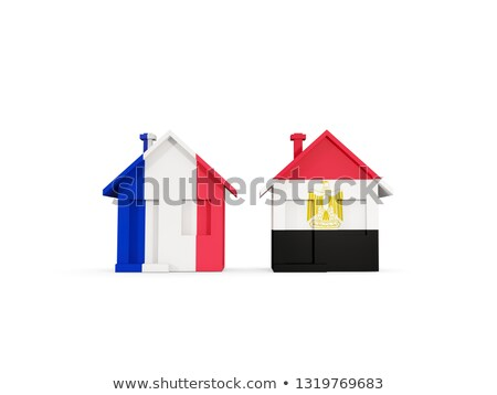 Two houses with flags of France and egypt Stock photo © MikhailMishchenko