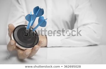 Três dardos negócio alvo cópia espaço cinza Foto stock © olivier_le_moal