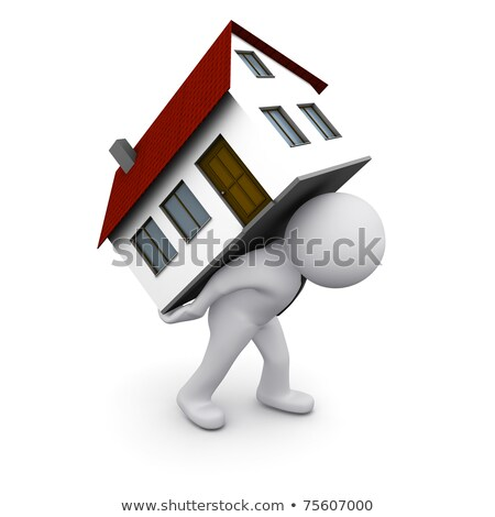men carry house on back isolated 3d illustration stock photo © iserg
