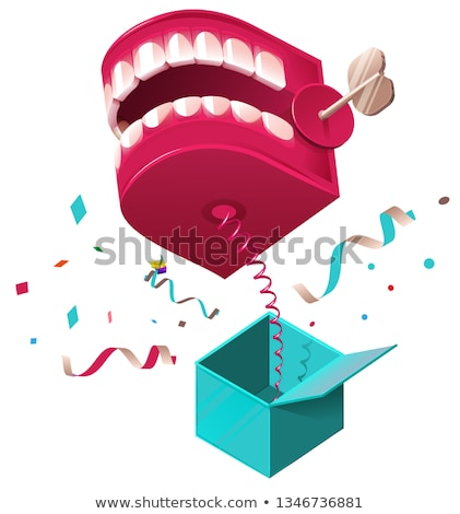 false jaw surprise for april 1 fools day raffle prank jumps out of box on spring stock photo © orensila