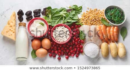 egészséges · étel · termékek · gazdag · válogatás · gyümölcs · tojások - stock fotó © furmanphoto