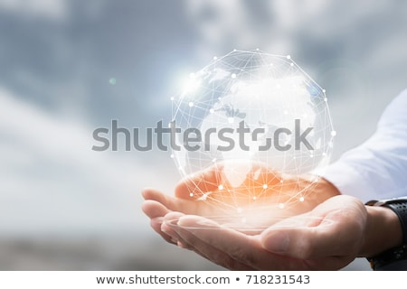 Businessman holding global connection concept  Stock photo © ra2studio