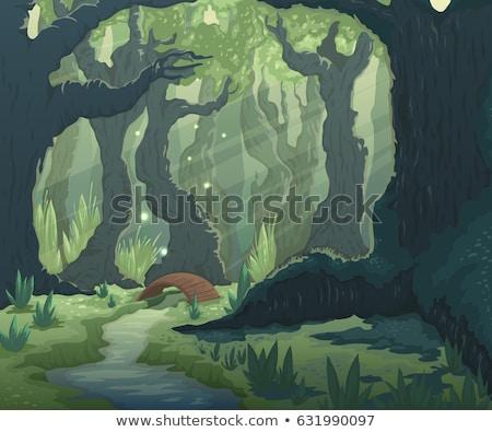 floresta · magia · árvores · vetor · em · movimento · quadro - foto stock © Natali_Brill