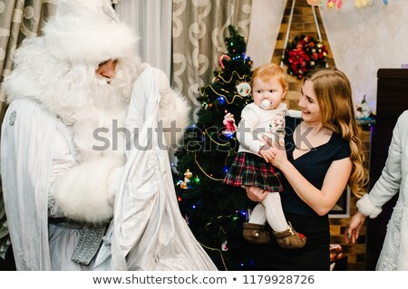 Stock fotó: Christmas Children Open Gifts Santa Snow Maiden
