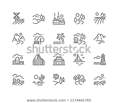 thin line outline landscape rural farm symbol design village ou stock photo © cosveta