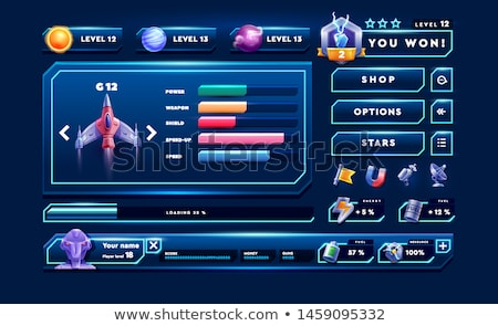 Game template with spaceship in galaxy Stock photo © colematt