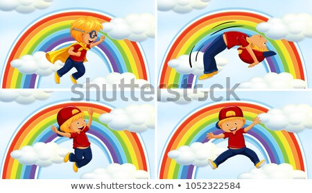 Boys in different acions on rainbow background Stock photo © colematt