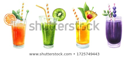 Ananas orange Wasserfarbe Illustration malen Obst Stock foto © ConceptCafe