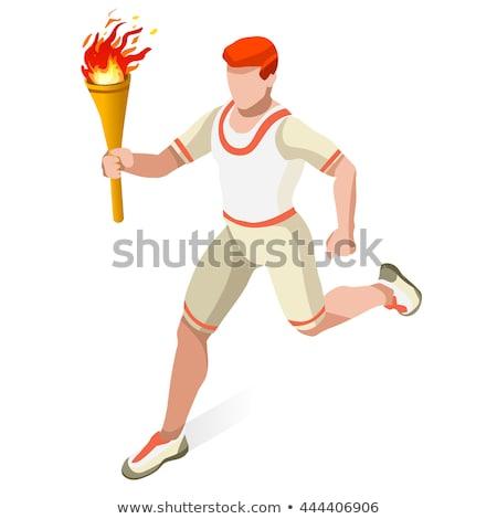 Cartoon работает человека факел иллюстрация Сток-фото © bennerdesign