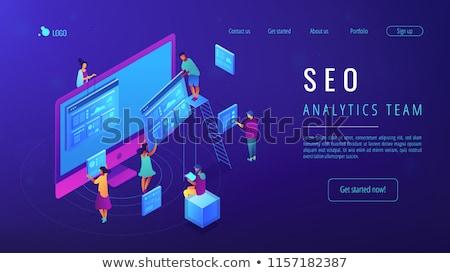 analytics · 3D · sjabloon · isometrische · landing · pagina - stockfoto © genestro