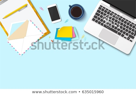 workplace desk for freelancer flat lay vector stock photo © pikepicture
